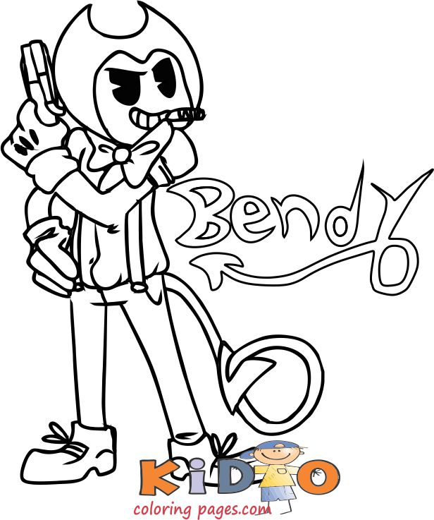 Bendy With A Gun Ink Machine Coloring Pages Print Out -