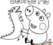 George Pig toy dinosaur coloring pages for kids
