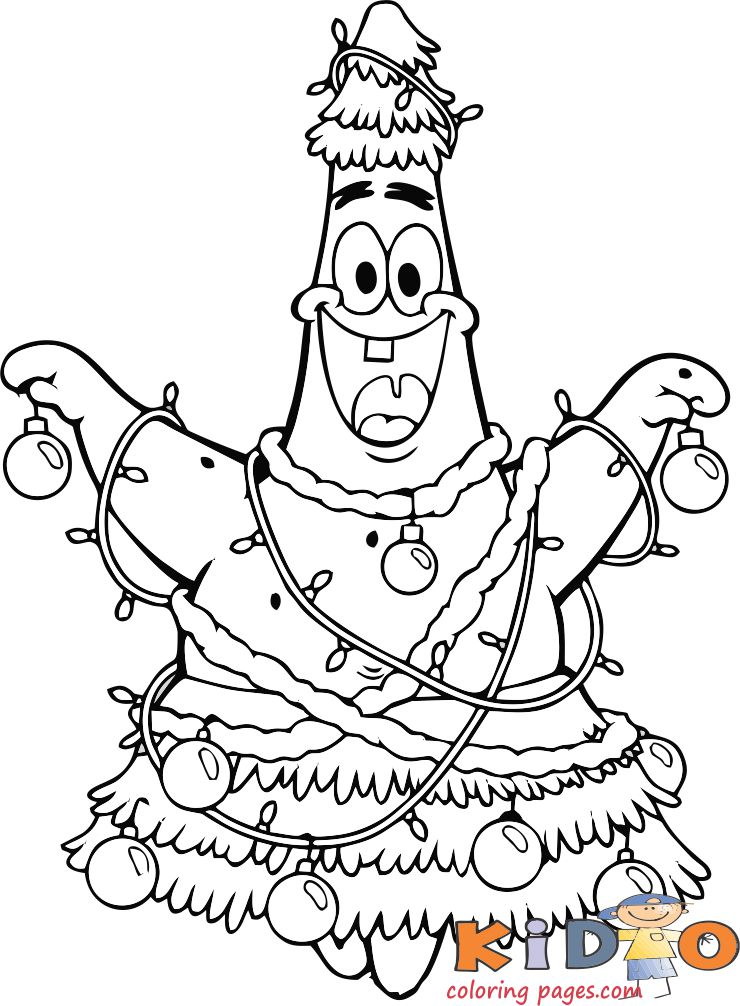 coloring page of patrick star christmas