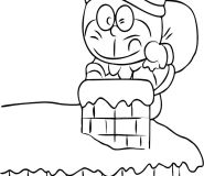 doraemon santa claus coloring in page for kids to print out