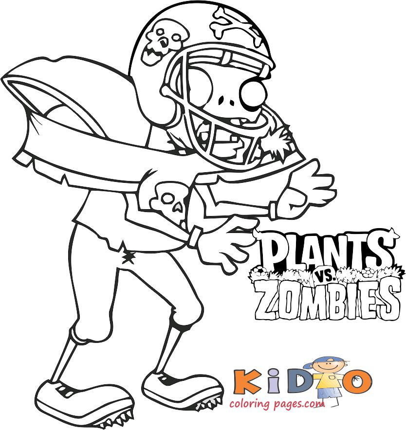 Football Zombies Coloring Pages Plants Vs Zombies - Kids Coloring Pages