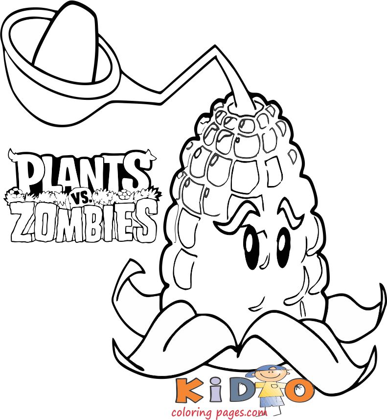 plants vs zombies Kernel pult coloring pages for kids