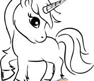 free coloring page cute unicorn printable