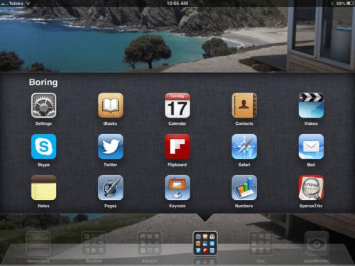 Store apps in folders