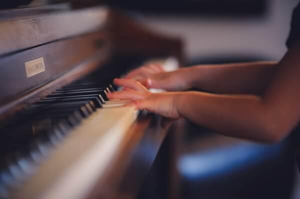 Child genius playing piano