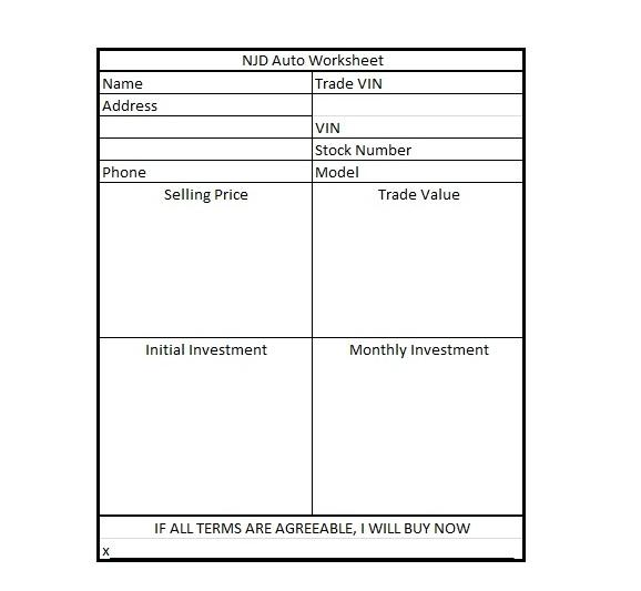 car sales worksheet template