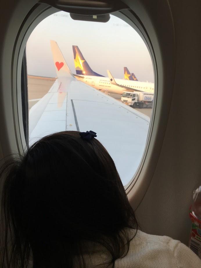 飛行機の翼を機内から見る娘