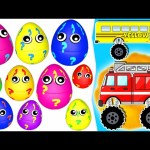 10 Surprise Eggs 3D Learn Colors with Crazy Monster Trucks ! plus Nursery Rhymes (Songs for Kids)