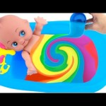 Baby Doll Bathtime Learn Colors Clay Slime Colours Surprise Toys RainbowLearning