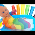 Baby Doll Bathtime Washable Bath Paint Surprise Eggs Inside Out LPS MLP Thomas RainbowLearning