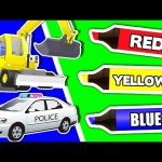 Coloring Book Compilation Vol. 2 – Learn Colours & Vehicles with Police Cars, Trucks for Kids & More