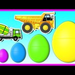 Construction Vehicles for Kids | 3D Surprise Eggs Smallest to Biggest | Learn Colors and Sizes