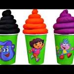 Dora the Explorer Play doh ice cream surprises Eggs, Boots  back pack surprises toys