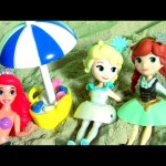 Frozen Fever Kinetic Sand Anna's Birthday Beach Party with Mermaid Ariel Elsa Play-Doh Ice Cream