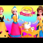 Frozen Magiclip Anna Elsa Dress-up Party Disney Princess Belle Fairytale Play Doh con Brilho Glitter