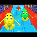 Giant Slide 3D For Kids | Surprise Eggs Learn Colors Balls Indoor Playground Family Fun Play Center