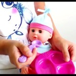 Girl playing with baby dolls.  Bath time and eathing time. Funny video from KIDS TOYS CHANNEL