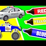 Learn Colors & Vehicles: Police Cars Vol. 1 ★ Coloring Book ★ Teach Colours for Kids Baby Toddler
