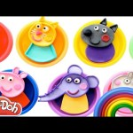 Learn Colors with Peppa Pig Play Doh Cans MLP LPS Inside Out Frozen Minions RainbowLearning