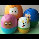 Learn Colours with Bubble Guppies Stacking Cups Surprise Eggs with Candy and Spider Man inside