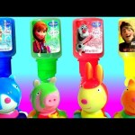 Learn Mix and Match Colors Disney Frozen Finger Bath Paint on NEW Peppa Pig Squirt Bath Water toys