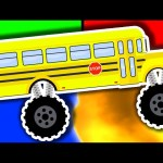Monster Truck School Buses Learn Colors & Crushing Words – Teach Colours for Kids with Surprise Eggs