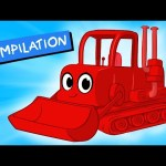 My Red Bulldozer + 1 Hour Kids Videos compilation ( Incl Digger, Firetruck) – My Magic Pet Morphle