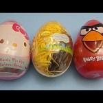 Opening 3 JUMBO Surprise Eggs! Angry Birds Disney Planes Hello Kitty!