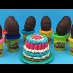 Play Doh CAKE Surprise Eggs with Toys Dora the Explorer Spider Man inside