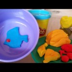 Play doh cooking toys. Kitchen playset for kids.- fruits ,cakes spaghetti and fish