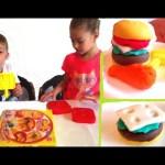 Play doh for kids . Kids make burger , fast food menu ,  Funny video KIDS TOYS CHANNEL