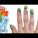 Play Doh How to Make My Little Pony Rainbow NailArt with Play-Doh RainbowLearning