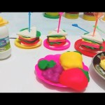 Play doh video. Breakfast play doh maker for kids .Buffet food; cakes, fruits, cheese,
