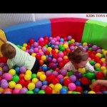 Playground with Balls for Kids. They playing in a fun pool.  Nice video