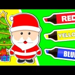 Surprise Eggs Learn Colors ★ Coloring Book: CHRISTMAS ★ Teach Colours for Kids Baby Toddler