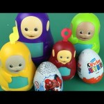 Teletubbies stacking cups tinky winky dipsy laa laa po with kinder joy spider man surprise eggs
