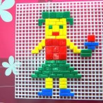 Toys for kids. Mosaic puzzle  for children. Nice video creative playset