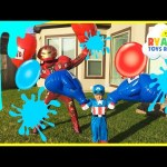 Water Balloons Fight Captain America Civil War vs Iron Man Marvel SuperHeroes Battle Ryan ToysReview