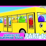 Wheels On The Bus   Bus Song for Kids Toddler Baby   Part 1+2   Animated Surprise Eggs Nursery Rhyme