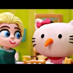 STOP Olaf!!! Elsa Turns Olaf into Hello Kitty * Frozen Movie Clips Playdoh Stop Motion videos