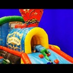 Indoor playground fun for kids with inflatable sliders, castle, trampoline carousel….