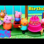 Peppa Pig Park Playground & Candy Cat SURPRISE Birthday Party Playmobil Park DisneyCarToys