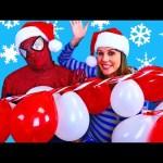 GIANT BALLOON POP CHALLENGE Surprise Toys ✪ Huge Candy Cane Frozen Tsum Tsums & Doc McStuffins Toys