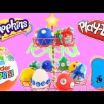 Play Doh Egg Christmas Tree Surprise Eggs Shopkins – – – Kinder Surprise Holiday Eggs