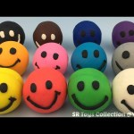 Play and Learn Colours with Playdough Smiley Face with Mickey Mouse and Minnie Mouse Molds