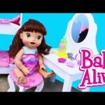 BABY ALIVE Doll Vanity KidKraft Wooden Furniture Bedroom Set & Lucy Hair Makeover by DisneyCarToys