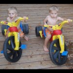 Twins First Ride on Big Wheels