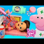 Baby Alive Doll Sick! Goes To The Peppa Pig Hospital + Popo Ambulance & Carrying Case DisneyCarToys