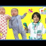 TWIN BABIES FIRST SHOTS at the doctor checkup Baby Girls Vaccine shots EVERYDAY WITH RYAN TOYSREVIEW