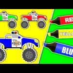 Coloring Book Compilation Police Monster Trucks – Learning Colors Collection Truck Videos for Kids